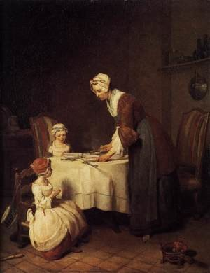 Rococo painting reproductions: The Prayer before Meal before 1740