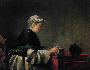 Famous paintings of Teapots: Woman Taking Tea 1735