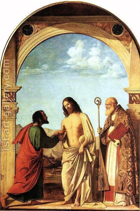 The Incredulity of St. Thomas with St. Magno Vescovo, 1505 by Giovanni Battista Cima da Conegliano - Reproduction Oil Painting
