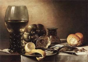 Famous paintings of Plates & Bowls: Still-Life with Oysters c. 1633
