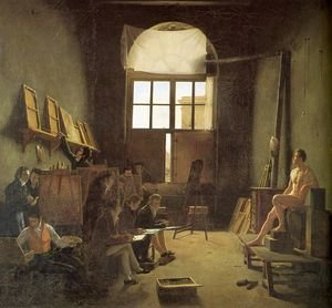 Famous paintings of Studios and Workshops: Interior of the Studio of David