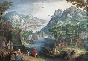 Mannerism painting reproductions: Mountain Landscape with River Valley and the Prophet Hosea