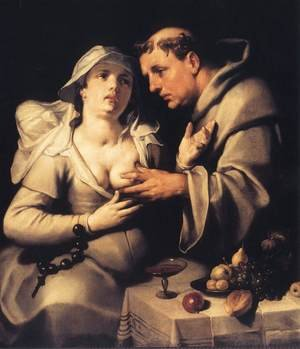 Mannerism painting reproductions: The Monk and the Nun 1591