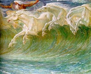 Reproduction oil paintings - Walter Crane - The Horses of Neptune (detail) 1892