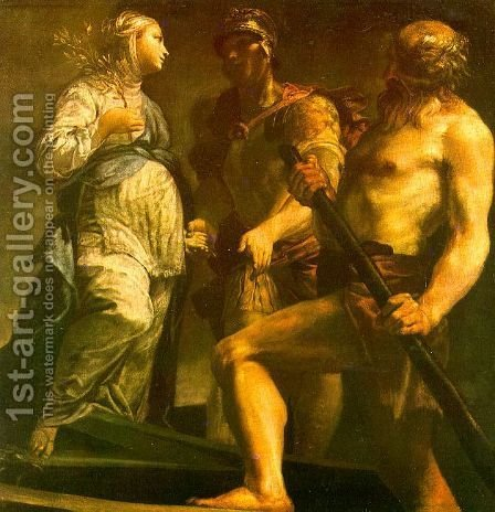 Aeneas with the Sybil & Charon 1700-05 by Giuseppe Maria Crespi - Reproduction Oil Painting