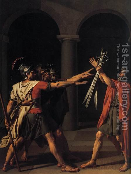 Jacques Louis David: The Oath of the Horatii (detail 1) 1784 - reproduction oil painting