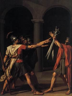 Reproduction oil paintings - Jacques Louis David - The Oath of the Horatii (detail 1) 1784