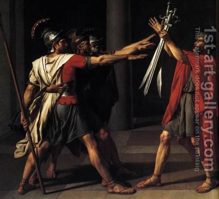Jacques Louis David: The Oath of the Horatii (detail 2) 1784 - reproduction oil painting