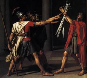 Reproduction oil paintings - Jacques Louis David - The Oath of the Horatii (detail 2) 1784