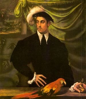 Portrait of a Gentleman with a Parrot 1552-55