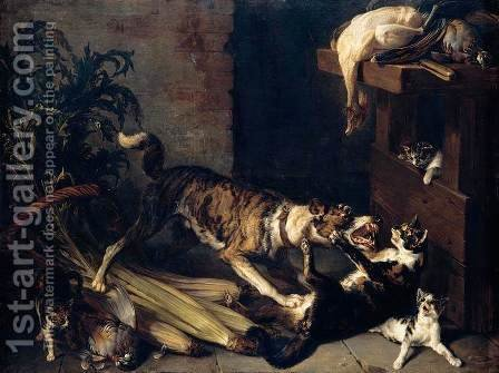 A Dog and a Cat Fighting in a Kitchen Interior 1710 by Alexandre-Francois Desportes - Reproduction Oil Painting