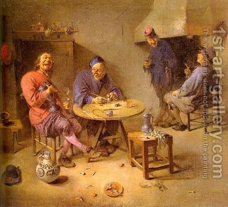 Barroom 1665 by Abraham Diepraam - Reproduction Oil Painting
