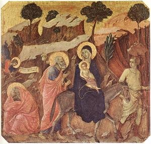 Famous paintings of The Holy Family: Flight into Egypt 1308-11