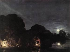 Mannerism painting reproductions: Flight into Egypt  1609