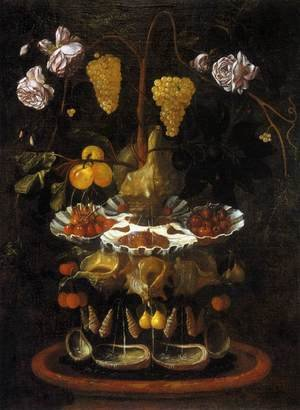 Juan De Espinosa reproductions - Still-Life with a Shell Fountain, Fruit and Flowers c. 1645
