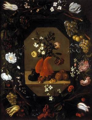Reproduction oil paintings - Juan De Espinosa - Still-Life with Flowers with a Garland of Fruit and Flowers c. 1645