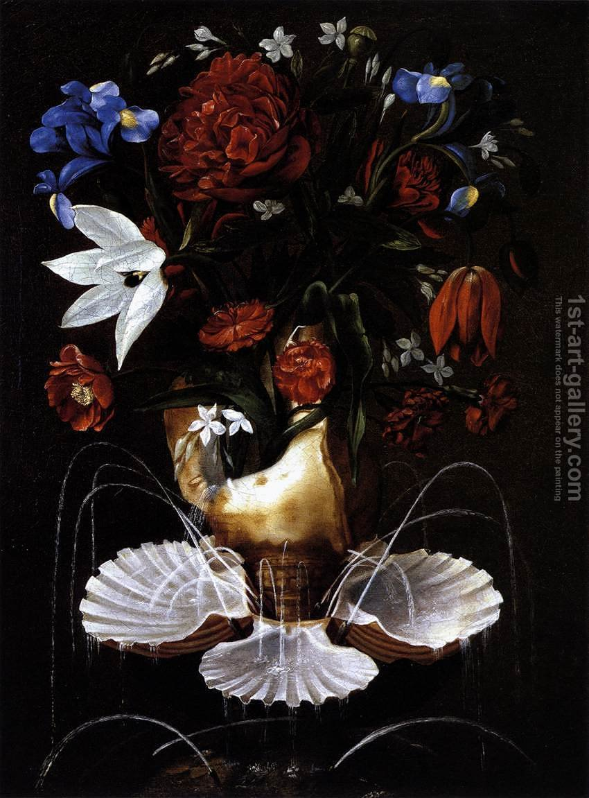 Huge version of Still-Life with Shell Fountain and Flowers c. 1645