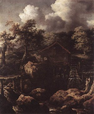Famous paintings of Mills: Forest Scene with Water-Mill c. 1650