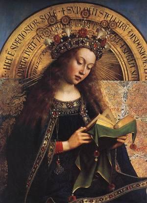 Renaissance - Northern painting reproductions: The Ghent Altarpiece- Virgin Mary (detail) 1426-29
