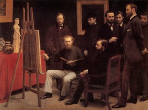 Realism painting reproductions: An Atelier in the Batignolles 1870