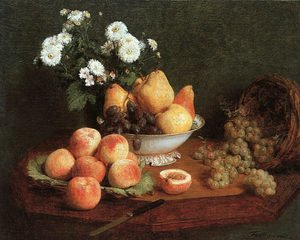 Flowers & Fruit on a Table 1865