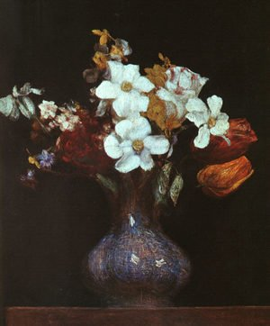 Realism painting reproductions: Narcissus and Tulips 1862