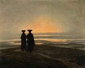 Reproduction oil paintings - Caspar David Friedrich - Evening Landscape with Two Men 1830-35