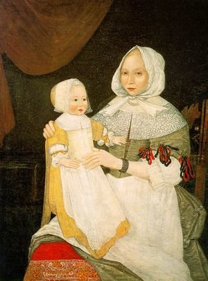 Famous paintings of Portraits: Mrs. Elizabeth Freake and Baby Mary 1671-74
