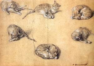 Reproduction oil paintings - Thomas Gainsborough - Six studies of a cat 1765-70
