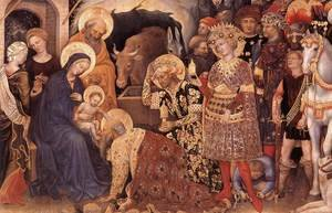 Famous paintings of Horses & Horse Riding: Adoration of the Magi (detail 1) 1423