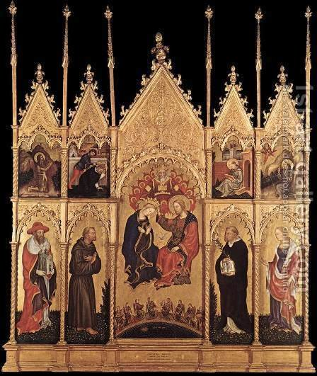 Coronation of the Virgin and Saints c. 1400 by Gentile Da Fabriano - Reproduction Oil Painting