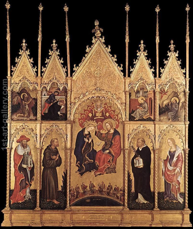 Huge version of Coronation of the Virgin and Saints c. 1400