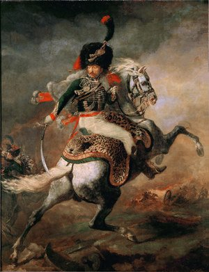 Famous paintings of Horses & Horse Riding: An Officer of the Chasseurs Commanding a Charge 1812