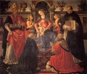 Domenico Ghirlandaio reproductions - Madonna and Child Enthroned between Angels and Saints c. 1486