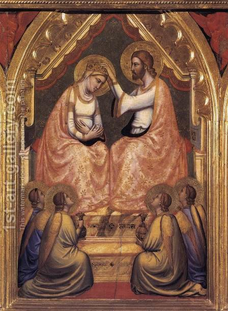 Baroncelli Polyptych- Coronation of the Virgin c. 1334 by Giotto Di Bondone - Reproduction Oil Painting