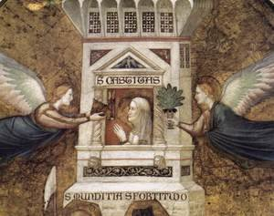 Reproduction oil paintings - Giotto Di Bondone - Franciscan Allegories- Allegory of Chastity (detail 1) c. 1330