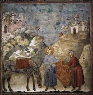 Reproduction oil paintings - Giotto Di Bondone - Legend of St Francis- 2. St Francis Giving his Mantle to a Poor Man 1297-99