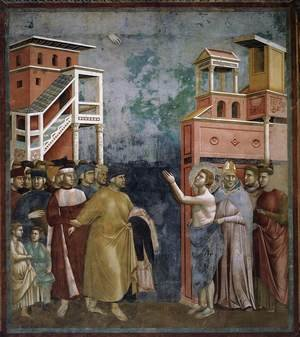 Reproduction oil paintings - Giotto Di Bondone - Legend of St Francis- 5. Renunciation of Wordly Goods 1297-99
