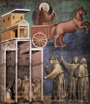 Reproduction oil paintings - Giotto Di Bondone - Legend of St Francis- 8. Vision of the Flaming Chariot 1297-99