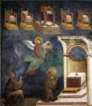 Reproduction oil paintings - Giotto Di Bondone - Legend of St Francis- 9. Vision of the Thrones 1297-99