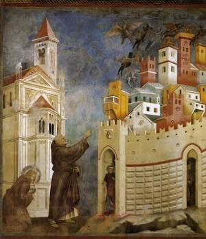 Reproduction oil paintings - Giotto Di Bondone - Legend of St Francis- 10. Exorcism of the Demons at Arezzo 1297-99