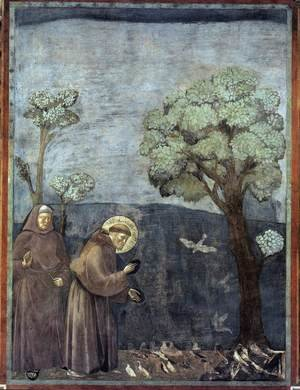 Reproduction oil paintings - Giotto Di Bondone - Legend of St Francis- 15. Sermon to the Birds 1297-99