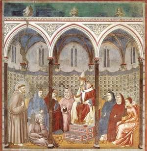 Reproduction oil paintings - Giotto Di Bondone - Legend of St Francis- 17. St Francis Preaching before Honorius III 1297-1300