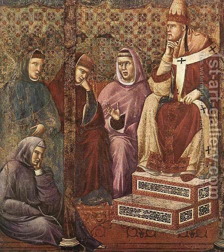 Giotto Di Bondone: Legend of St Francis- 17. St Francis Preaching before Honorius III (detail) 1297-1300 - reproduction oil painting