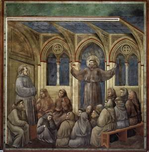 Reproduction oil paintings - Giotto Di Bondone - Legend of St Francis- 18. Apparition at Arles 1297-1300 2