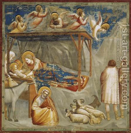 Giotto Di Bondone: No. 17 Scenes from the Life of Christ- 1. Nativity- Birth of Jesus 1304-06 - reproduction oil painting