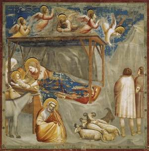 Giotto Di Bondone reproductions - No. 17 Scenes from the Life of Christ- 1. Nativity- Birth of Jesus 1304-06