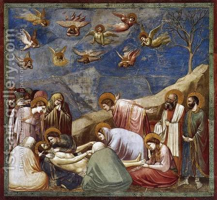 Giotto Di Bondone: No. 36 Scenes from the Life of Christ- 20. Lamentation (The Mourning of Christ) 1304-06 - reproduction oil painting