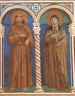 Reproduction oil paintings - Giotto Di Bondone - Saint Francis and Saint Clare 1279-1300