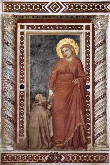 Giotto Di Bondone: Scenes from the Life of Mary Magdalene- Mary Magdalene and Cardinal Pontano 1320s - reproduction oil painting